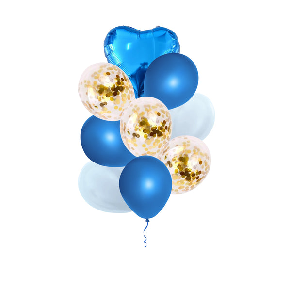 Blue & Gold Balloon Bouquet -  9/pack