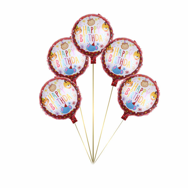 Circus Carnival Animals Birthday Foil Balloon - Pk / 5