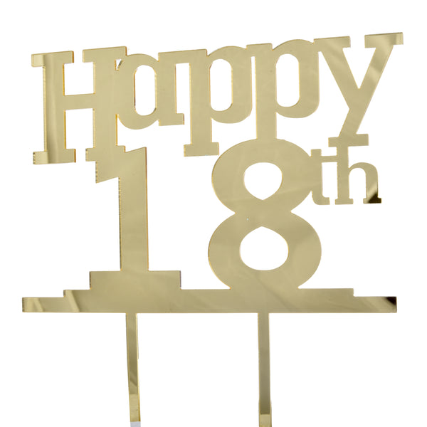 """Happy 18th"" Acrylic Cake Topper"