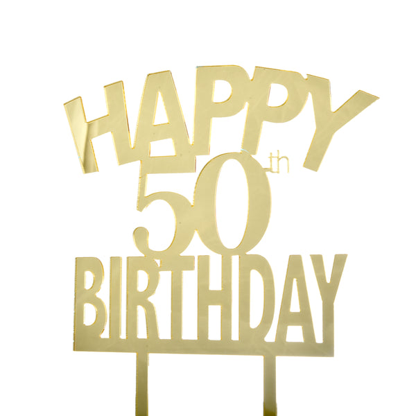 Happy 50th Birthday Acrylic Cake Topper