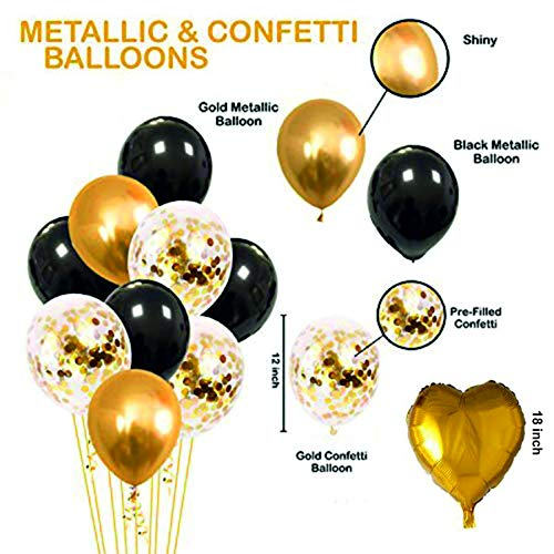 Black & Gold Balloon Bouquet -  9/pack