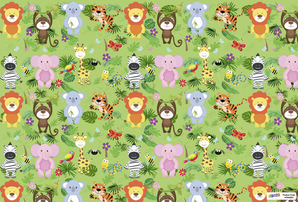Jungle Animals Gift Wrapping Paper with Name Tags – Pk / 40 pcs