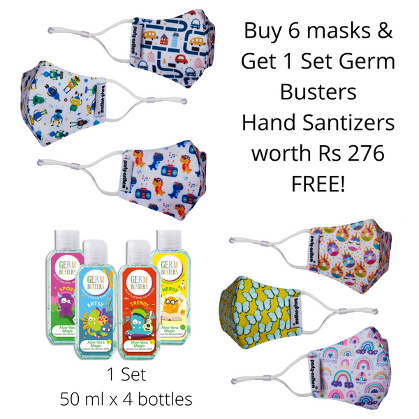 Smart Shield Face Masks for Kids age 3-7 years- 6/pk with Complimentary 4x50ml Germ Busters Hand Sanitizers