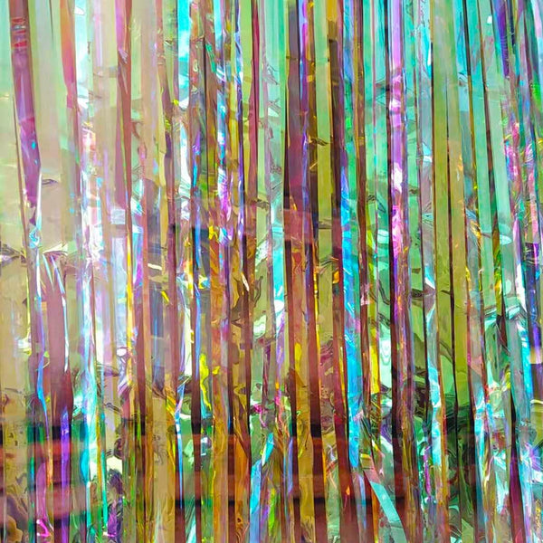 Mermaid Multicolour Holographic Fringe Curtain 4ft x 7ft Each (Pack of 2)