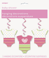"""Baby"" Onsie Swirl Hanging Decorations - 3/pack"