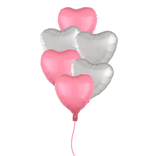 Pink & White Heart shape Matte Foil Balloon Bouquet -  6/pack