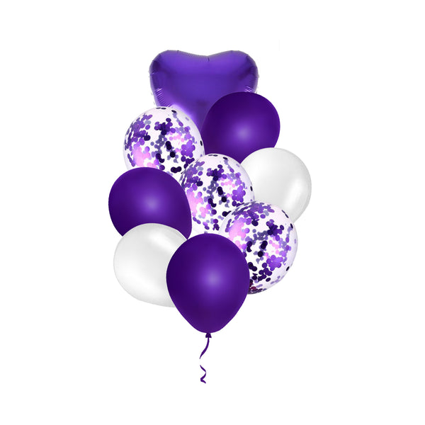 Purple Confetti Balloon Bouquet -  9/pack