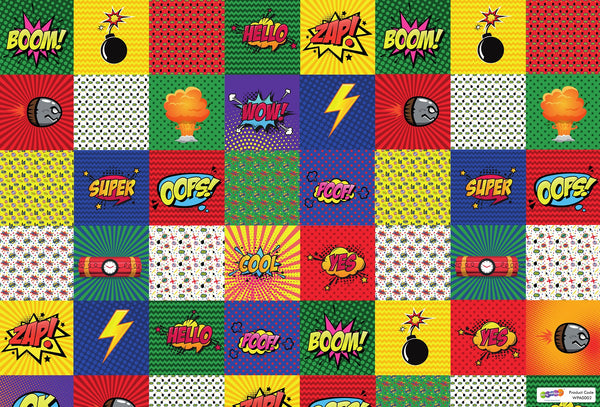 Superhero Gift Wrapping Paper with Name Tags – Pk / 40 pcs