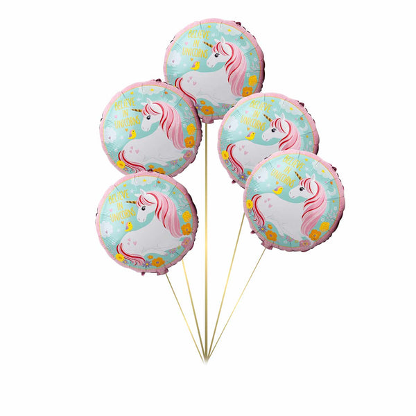 Unicorn Foil Balloon - Pk / 5