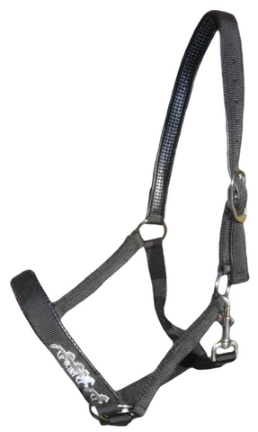 Black Nylon Halter with Tölting Horses
