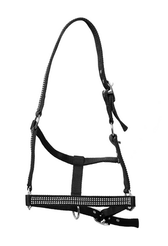 Black Nylon Halter with white stones