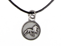 Leather necklace with rustic icelandic horse
