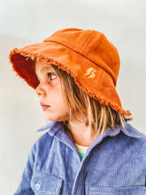 Load image into Gallery viewer, Orange Frayed Bucket Hat