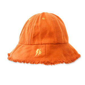 Orange Frayed Bucket Hat