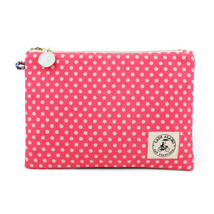 Miss Zip Wristlet: Pink Dot With Keyring