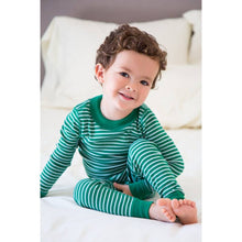 Load image into Gallery viewer, Forest/Silver Stripes Long Sleeve Pajamas