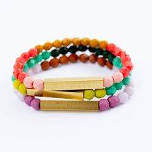 Load image into Gallery viewer, Colorful Bead & Brass Bracelet