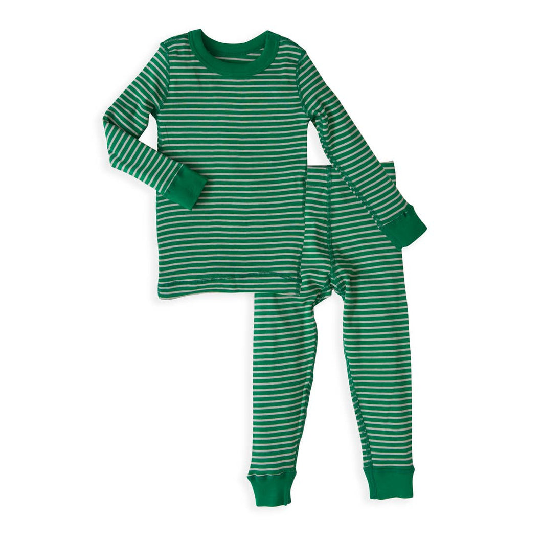 Forest/Silver Stripes Long Sleeve Pajamas