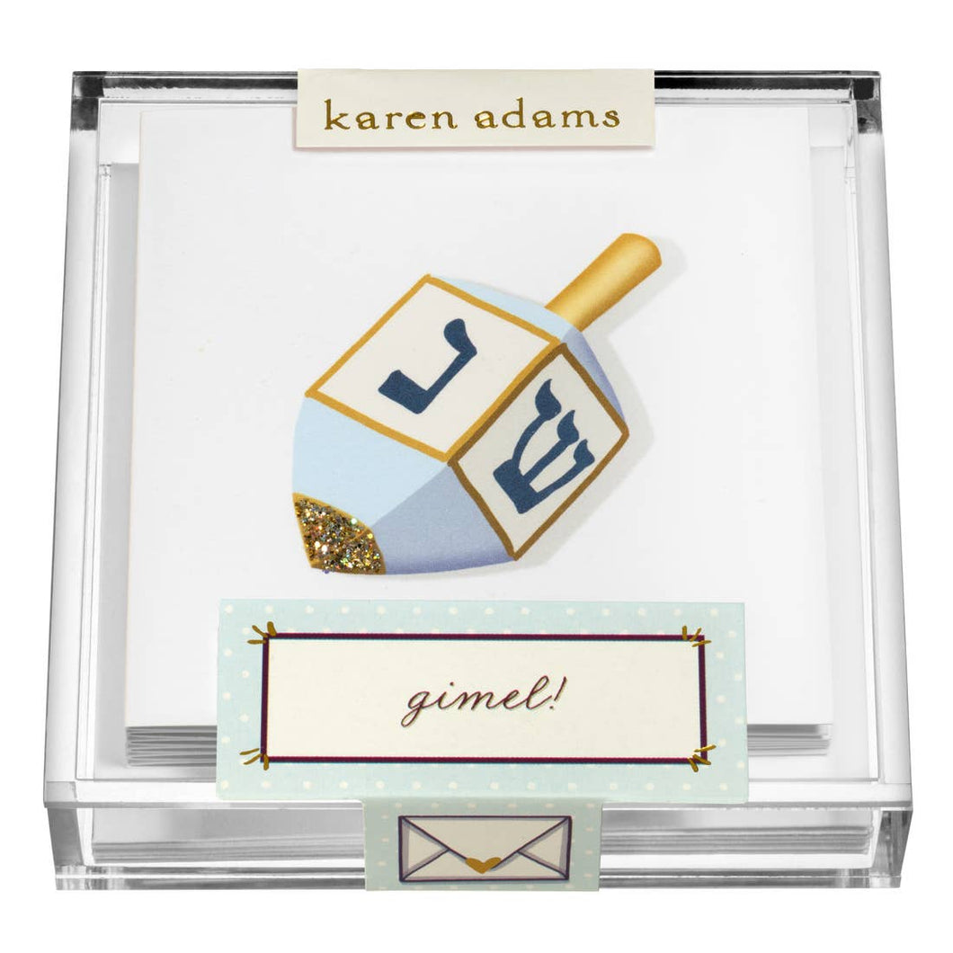 Dreidel Enclosure Cards in Acrylic Box