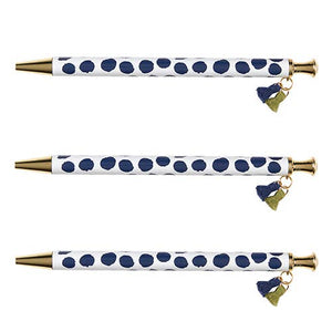 Tassel Pen- Navy Polka Dot