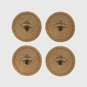 Stripey Bee Coasters - Set of 4