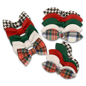 Holiday Plaid Leather Hair Bows
