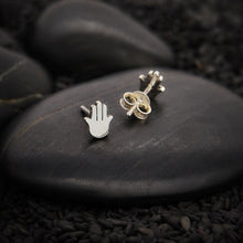 Load image into Gallery viewer, Sterling Silver Hamsa Hand Stud Earrings