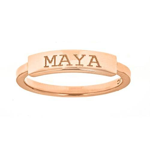 Personalized 14k Engravable Bar signet Ring