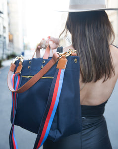 Codie Navy Nylon Tote with Crossbody Strap (Personalizable)