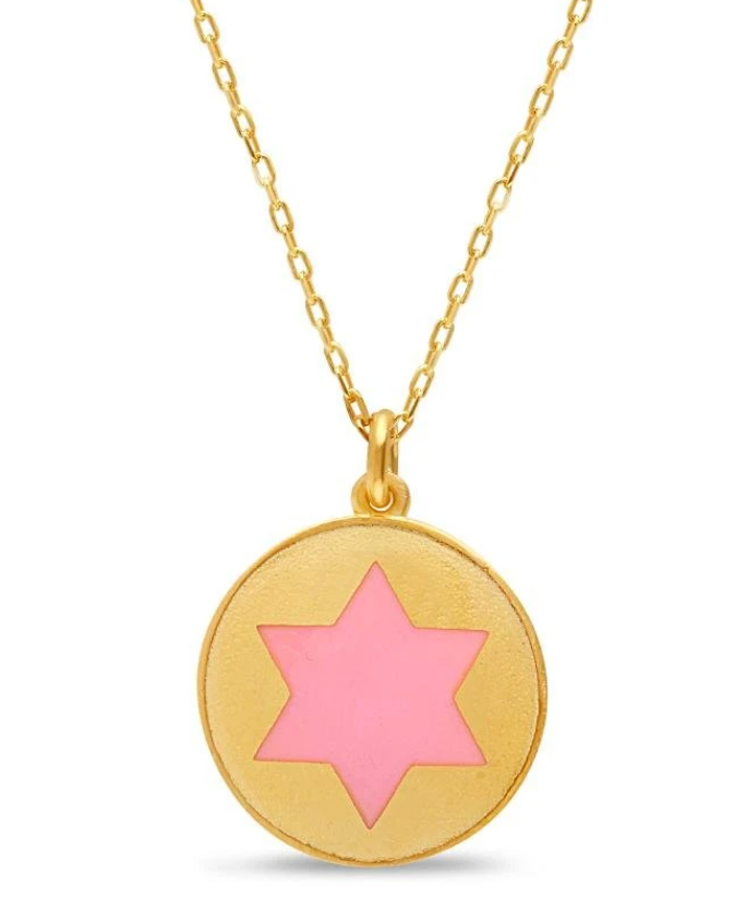 Colorful Disc Star of David Necklace