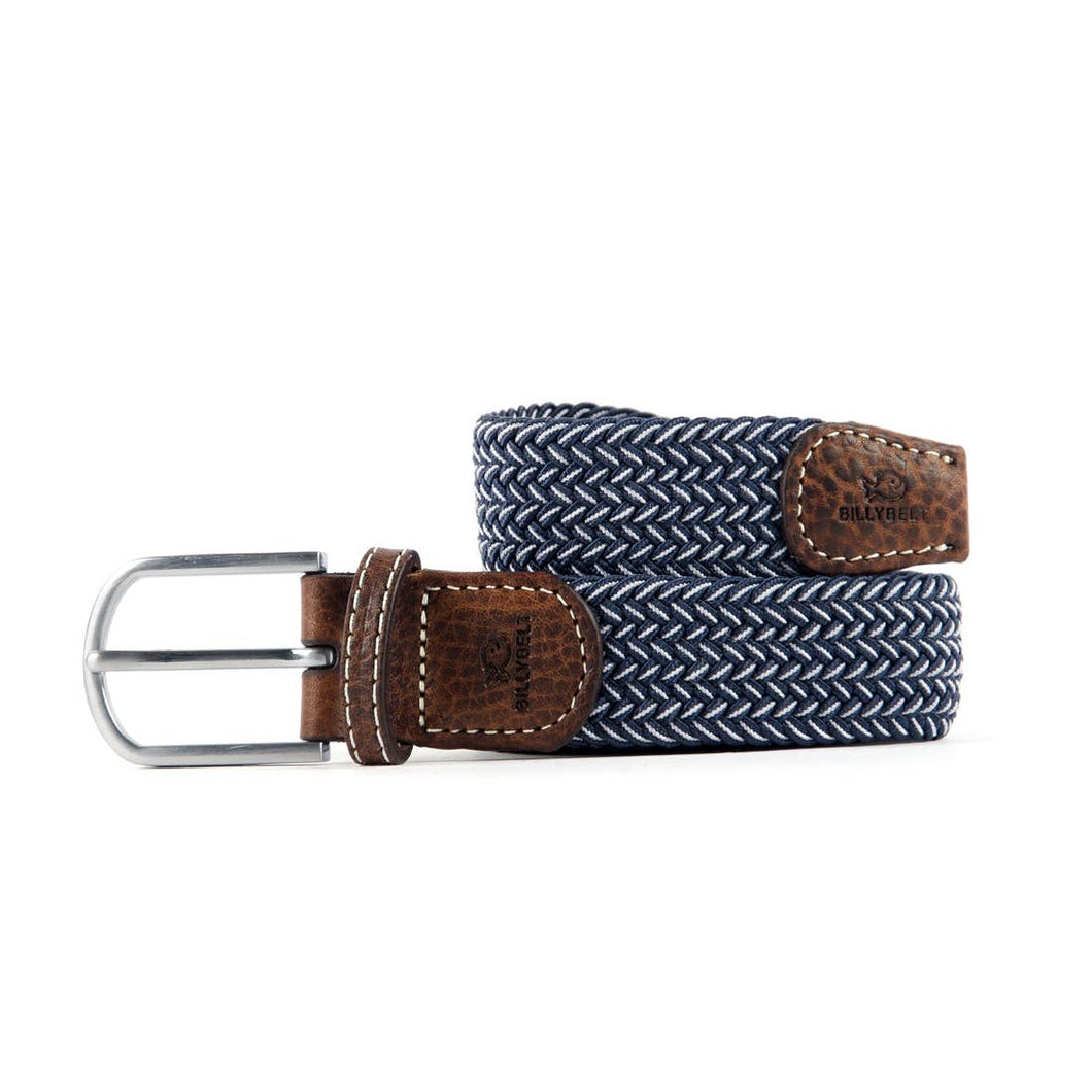 Navy and White Elastic Woven Belt