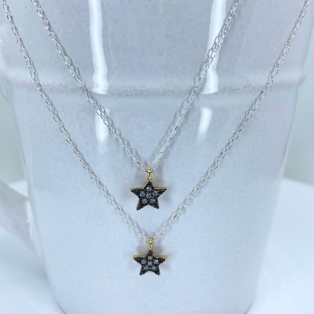 Silver Double Strand Necklace With 2 Clear CZ Layered Stars