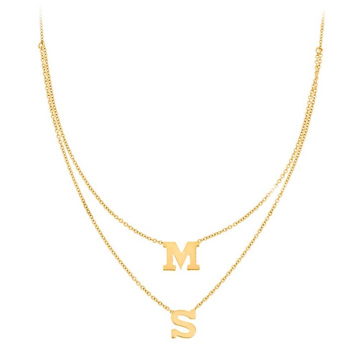 Personalized 14k 2 Mini Initial Layered Necklace