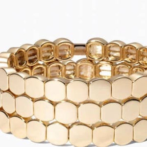 Gold Circle Enamel Tile Stretch Bracelet