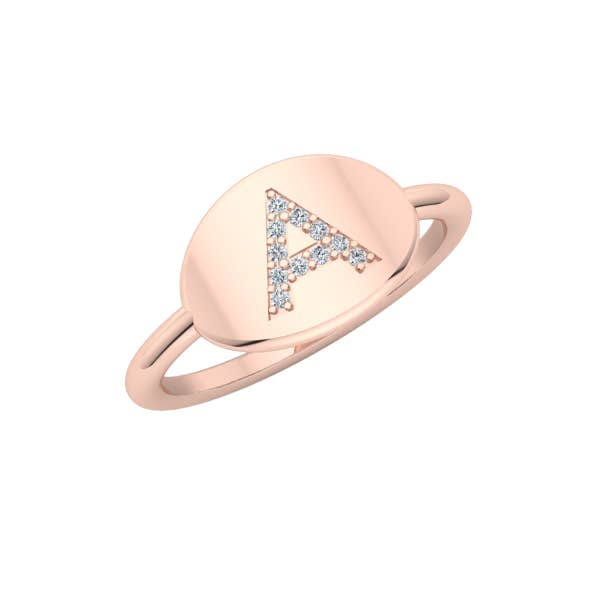 Personalized 14k & Diamond Initial Signet Ring
