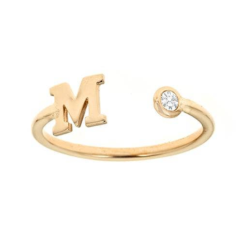 Personalized 14k Mini Initial and Diamond Bezel Ring