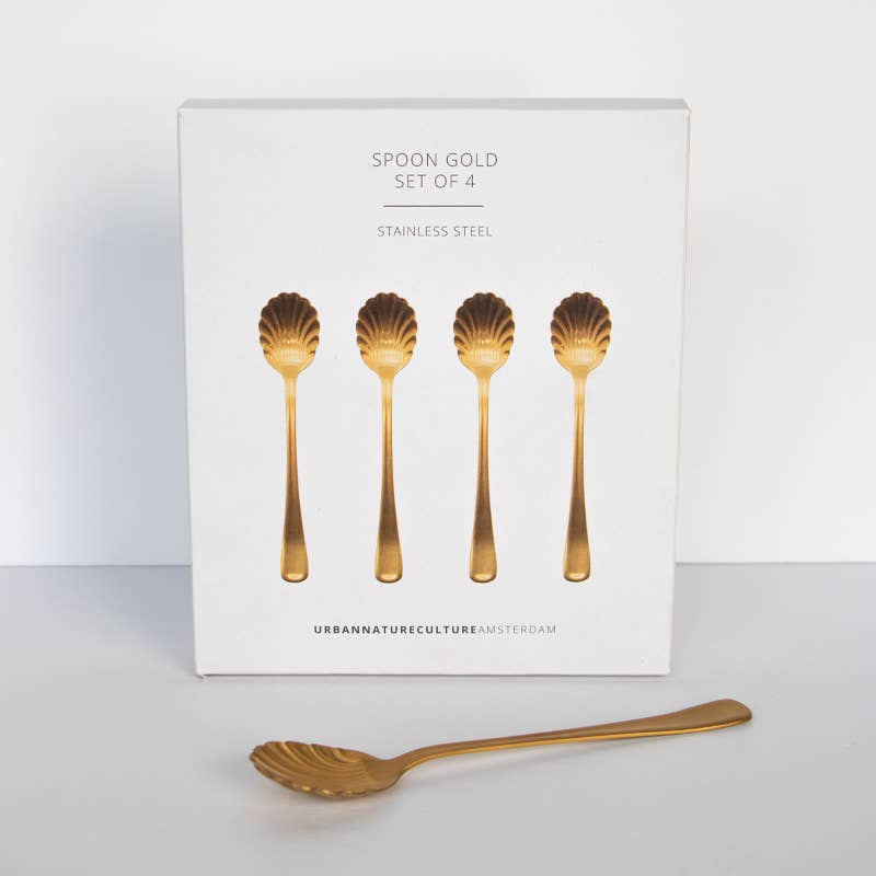 Set of Scalloped Gold Spoons
