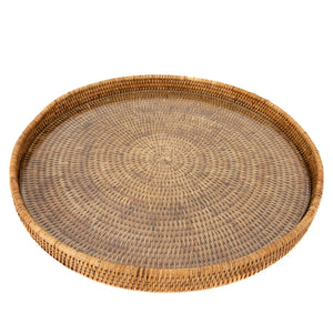 Rattan Tray with Glass Insert