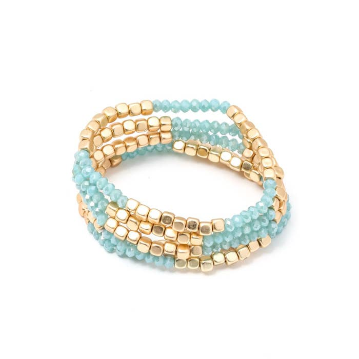 Mint and Gold Bracelet Stack
