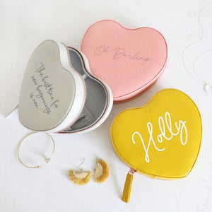 Personalized Heart Travel Jewelry Case