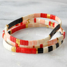 Load image into Gallery viewer, Stretch Tile Bracelet | Valentine Colorblock