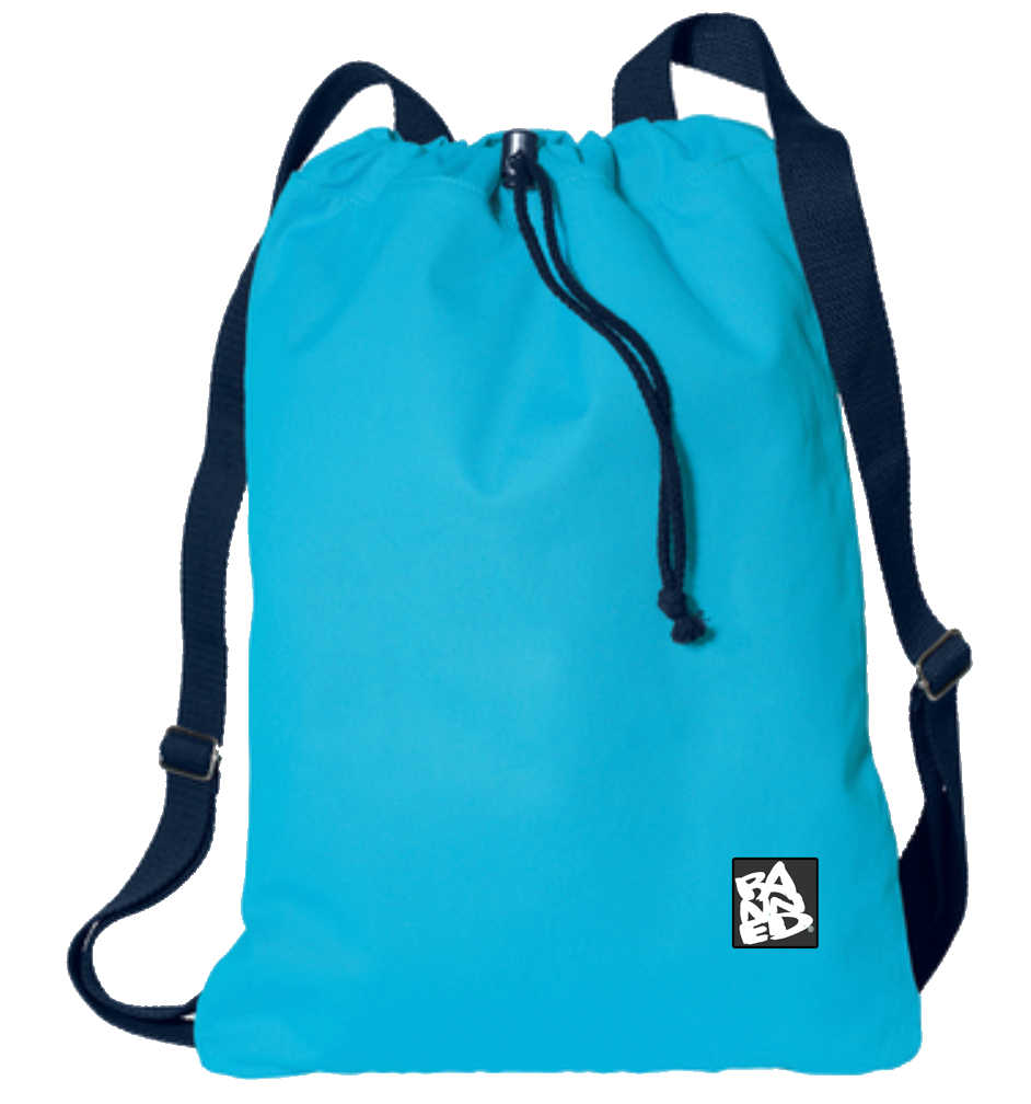 No School Canvas Cinch Backpack Turquoise