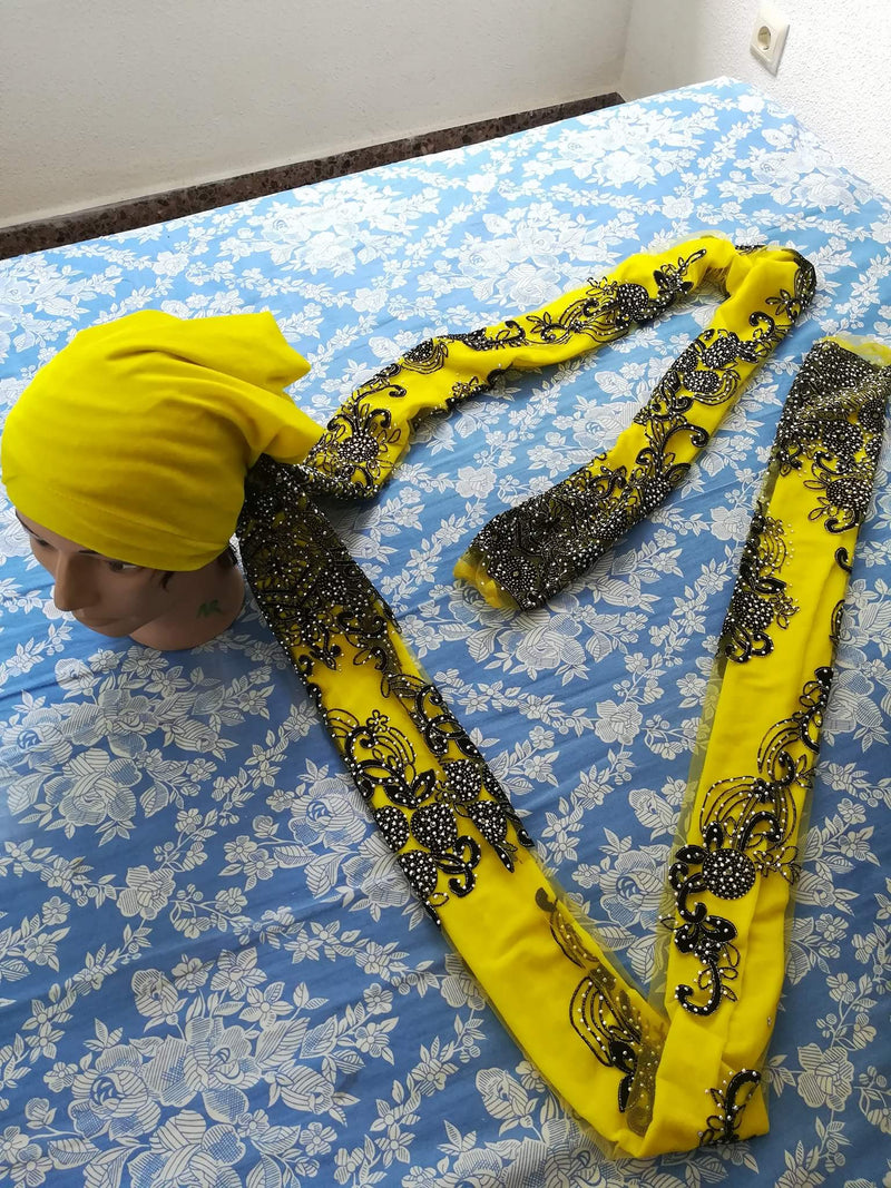 TURBANS WITH EMBROIDERED HAIR WRAP