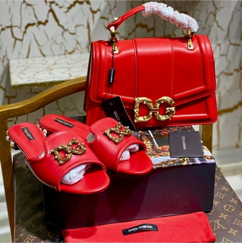 ORIGINAL QUALITY ::  DOLCE GABBANA BAG + SLIPPER
