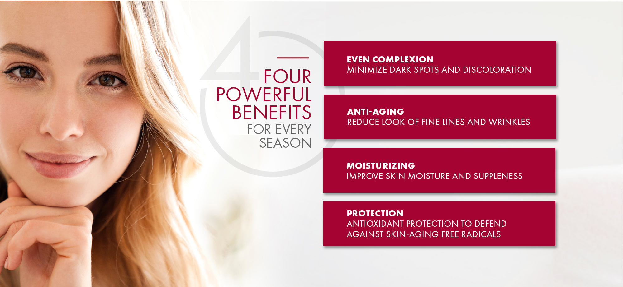 Four Powerful benefits for Every Season. Even Complex - Anti-Aging = Moisturizing - Protection.