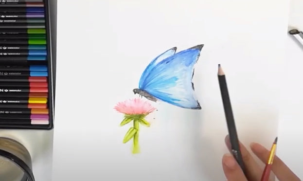How to create a watercolor butterfly with watercolor pencils and fineliner ink pens
