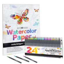 Load image into Gallery viewer, Watercolor Brush Pens Kit - 24 Markers with Paper Pad