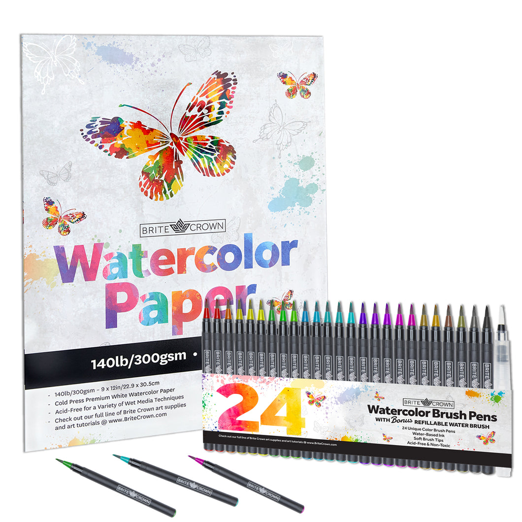 Watercolor Brush Pens Kit - 24 Markers with Paper Pad