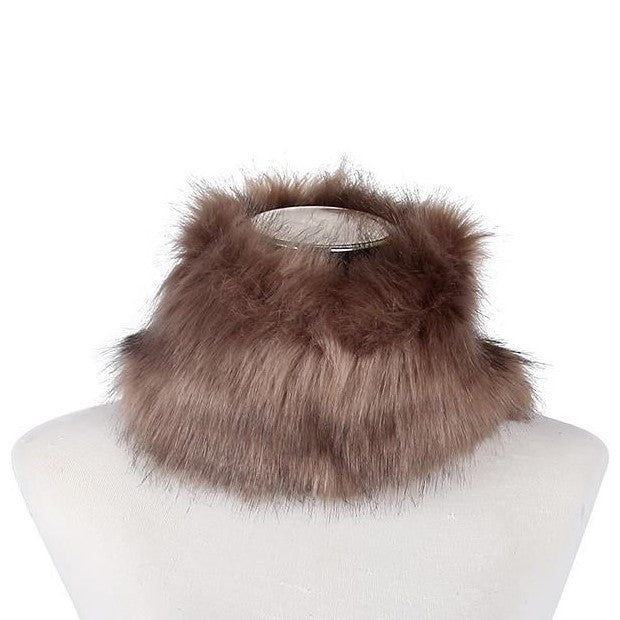 Brown 100% Viscose Due Colour Faux Fur Snood, 13cm x 30cm