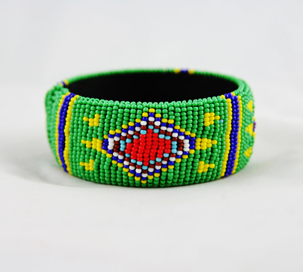 African Beaded Cuff Bracelet Green Red Yellow Blue - Cultures International From Africa To Your Home
